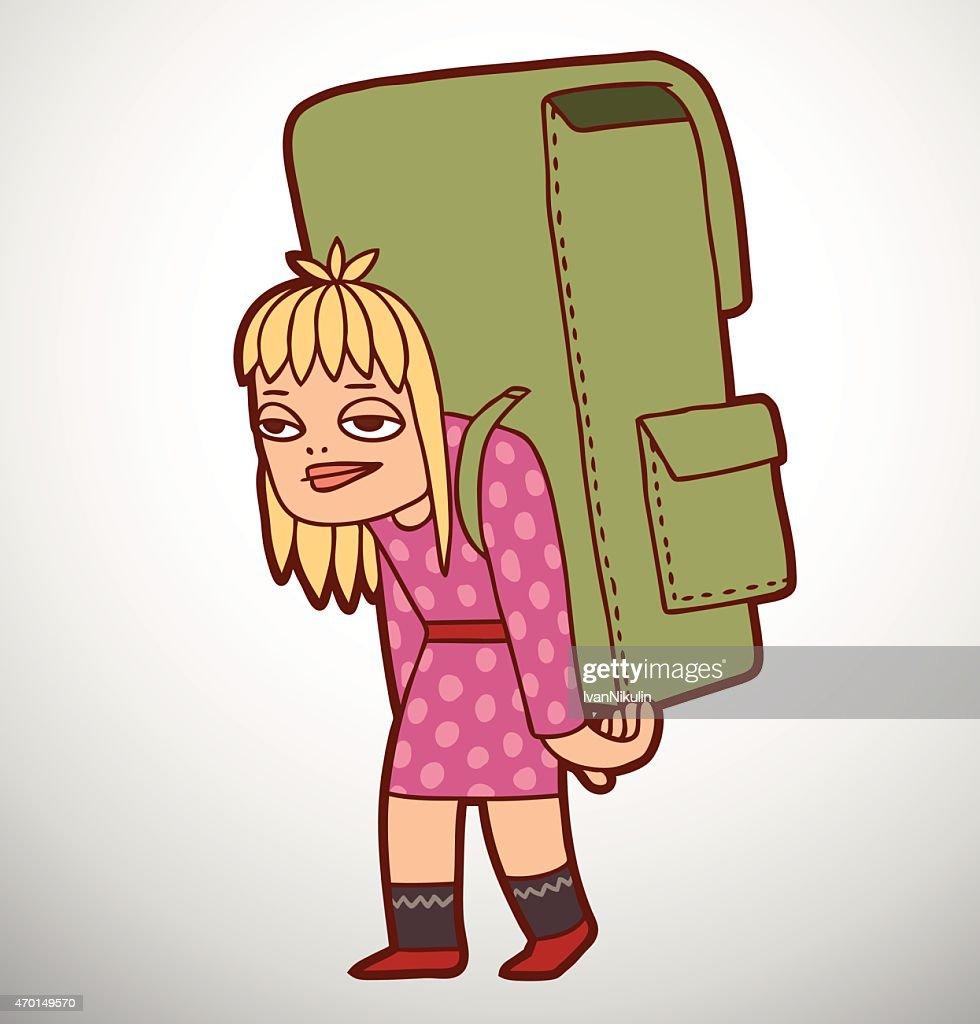 Schoolgirl with heavy school bag