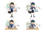 Schoolgirl with multi tasking and multi skill