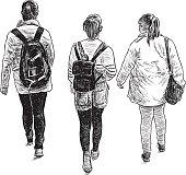 schoolgirls on a walk