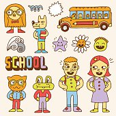 Schoolkids and animals colorful doodle set. Hand drawn. Vector illustration.
