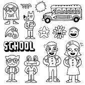 Schoolkids and animals doodle set. Hand drawn. Vector illustration.