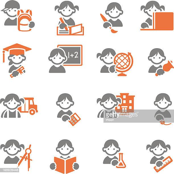 Schoolkids education icons