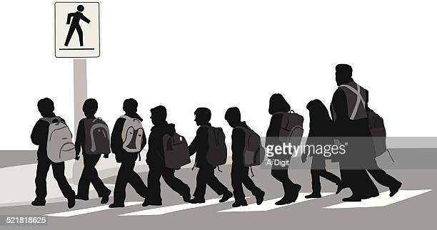 schoolouting - zebra crossing stock illustrations