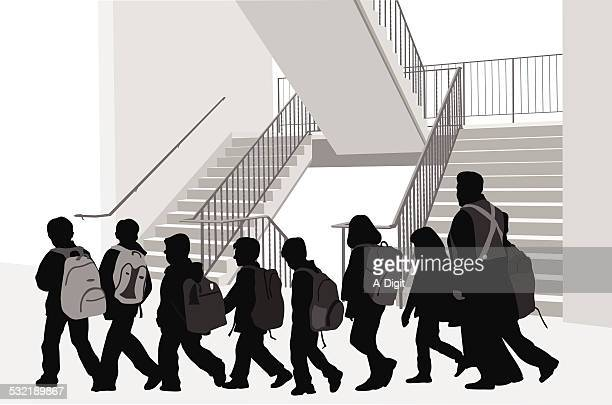 schoolstairs - corridor stock illustrations, clip art, cartoons, & icons