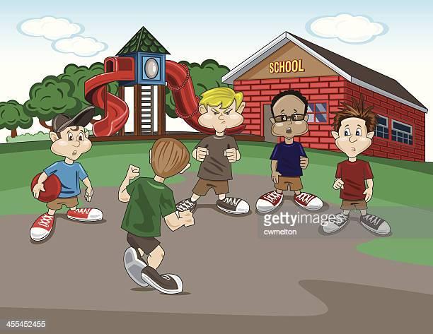 ilustraciones, imágenes clip art, dibujos animados e iconos de stock de patio de colegio justicia - bullying