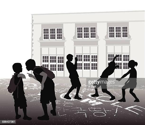 ilustraciones, imágenes clip art, dibujos animados e iconos de stock de schoolyardbully - edificio de escuela primaria