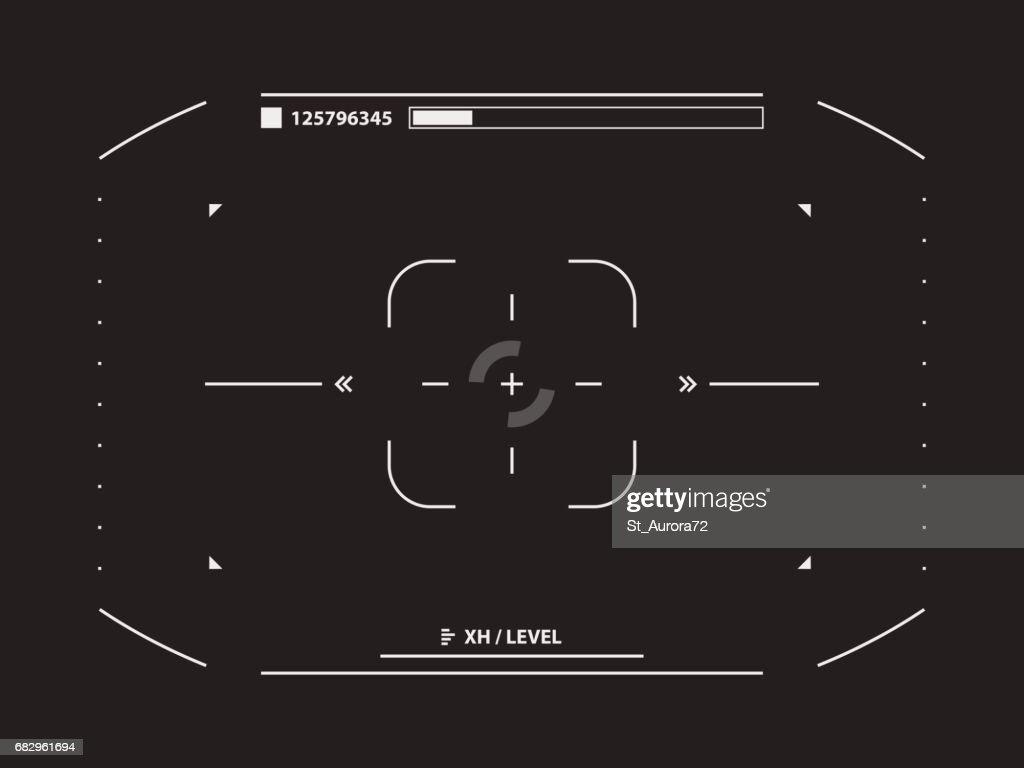 Sci fi futuristic interface camera viewfinder. Concept user interface high tech screen spaceship. Vector illustration