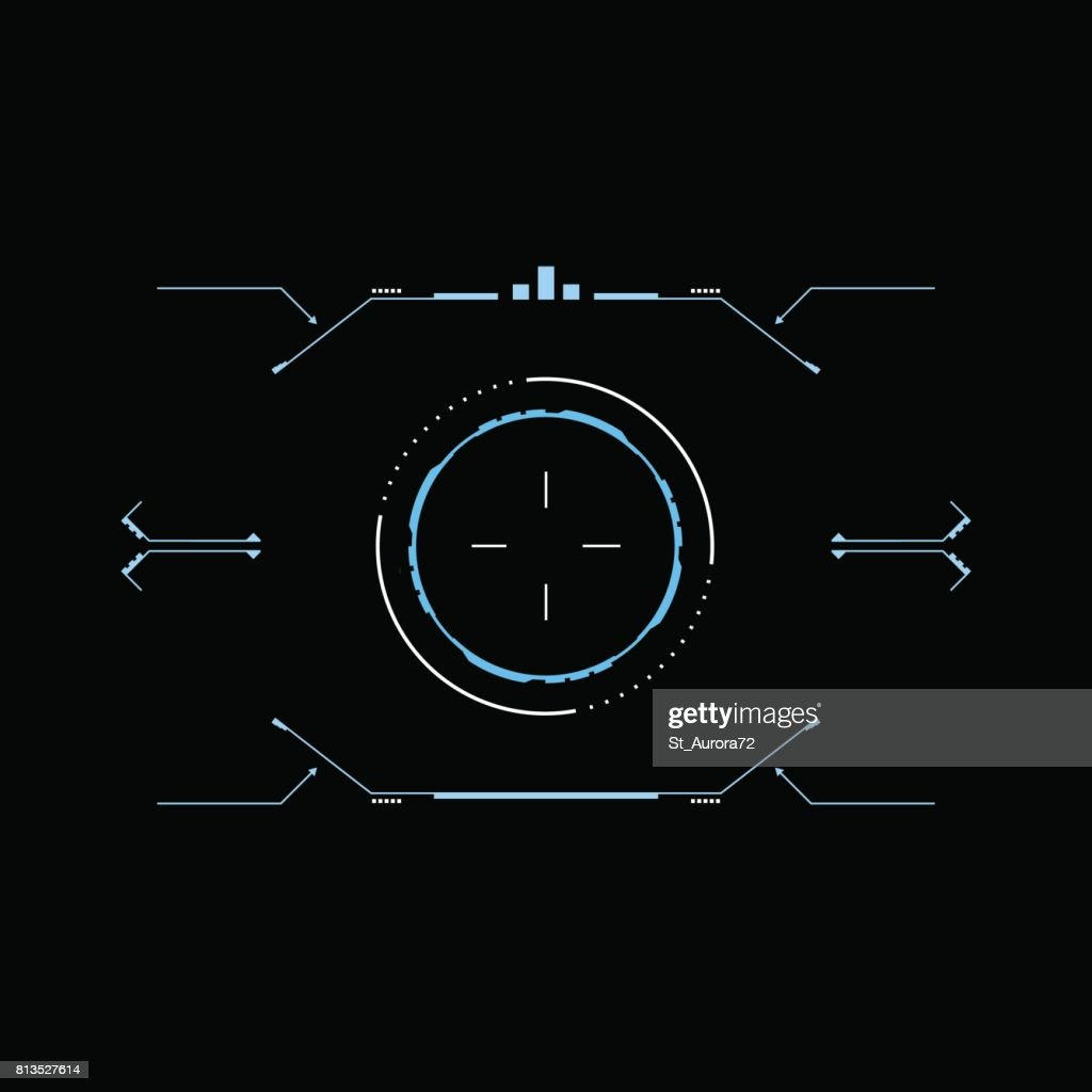 Sci fi futuristic interface viewfinder. HUD interface. Concept design user interface high tech screen spaceship.
