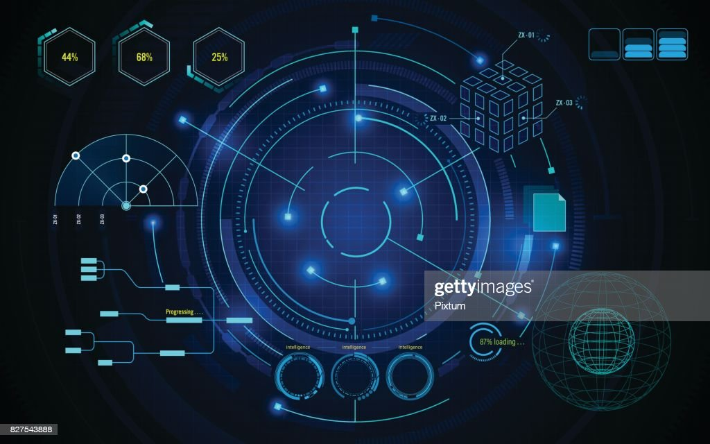 sci fi screen hud ui scanning futuristic concept template background