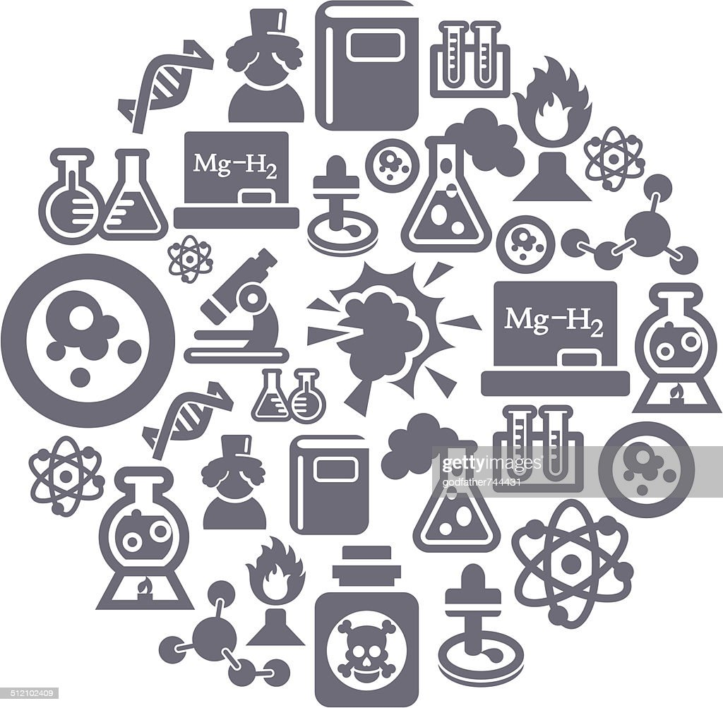 Science and Chemistry Icons in Circle Shape