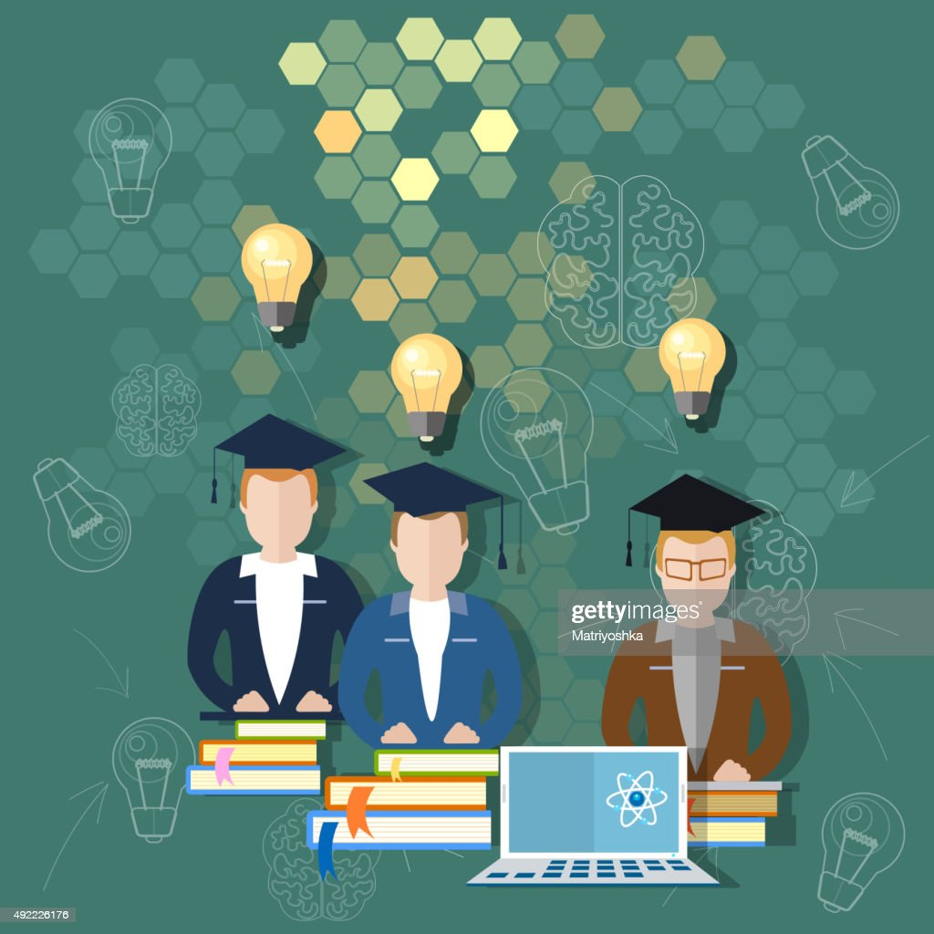 Science and education online education school board concept
