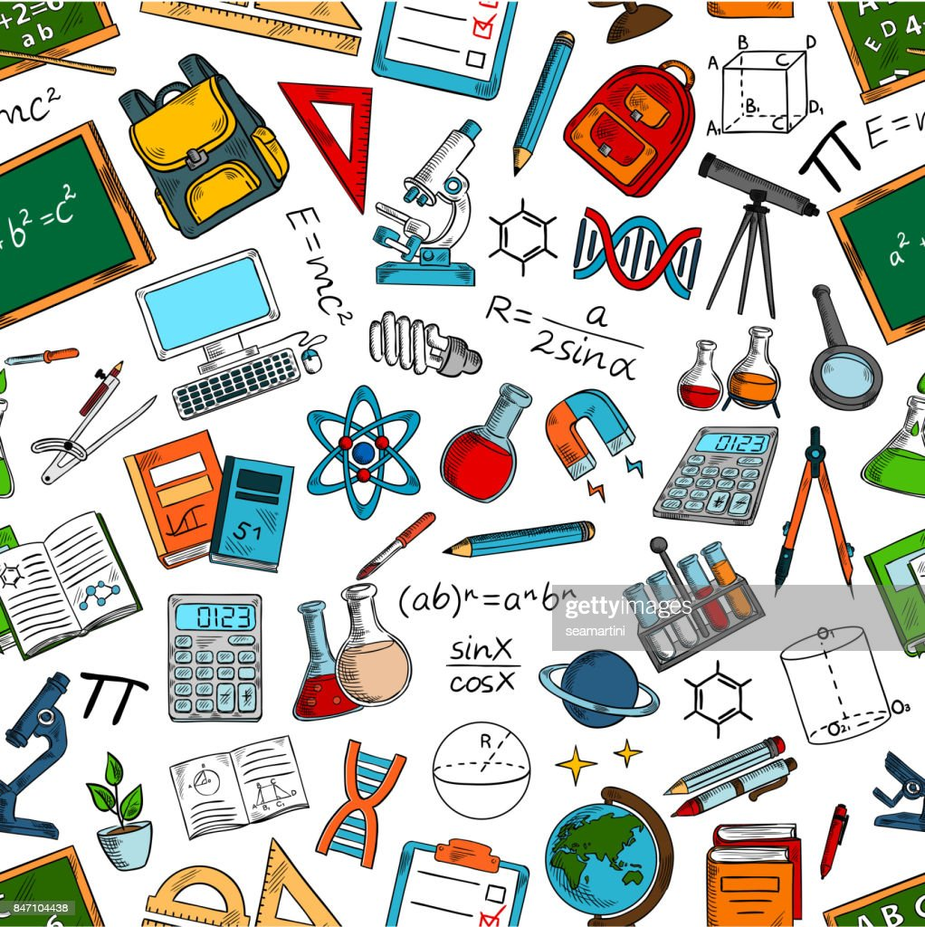 Science and education seamless pattern background