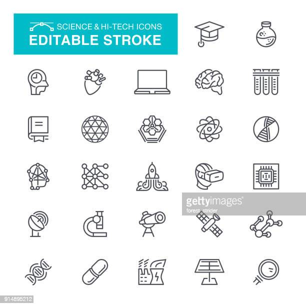 Science and Hi-Tech Icons Editable Stroke