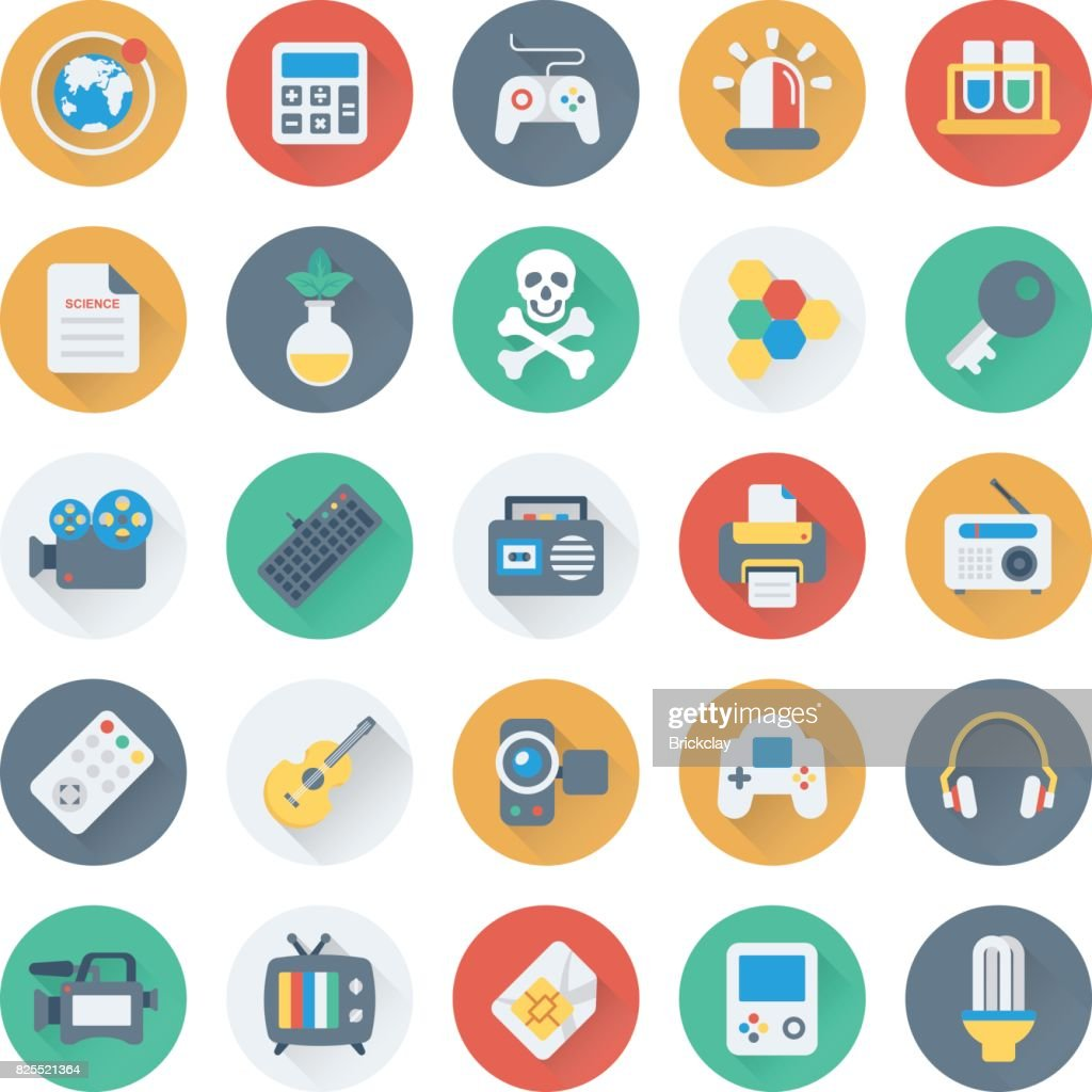 Science and Technology Colored Vector Icons 7