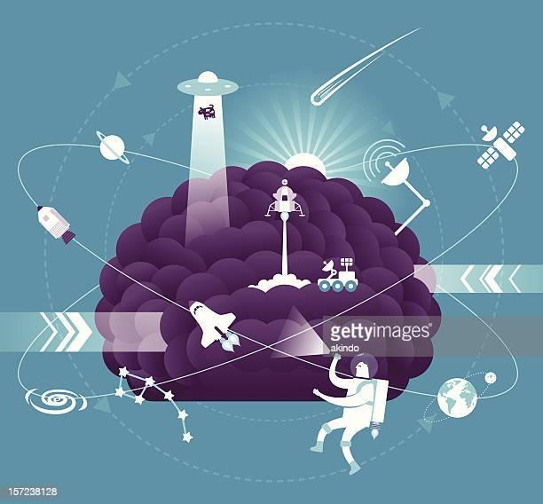 illustrations, cliparts, dessins animés et icônes de science cerveau - constellation