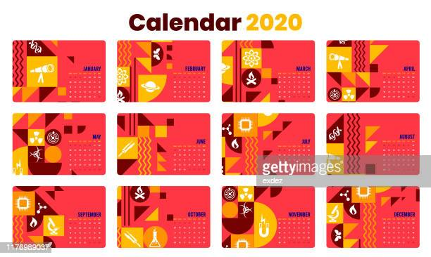 science calendar 2020 for print - desk organizer stock illustrations, clip art, cartoons, & icons
