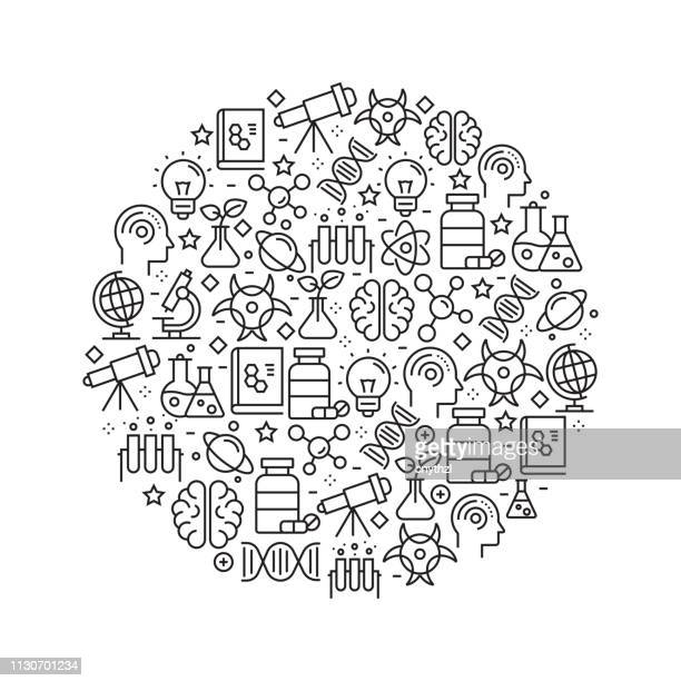 science concept - black and white line icons, arranged in circle - science stock illustrations