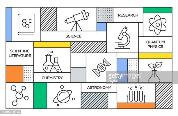 science concept. geometric retro style banner and poster concept with science related line icons - scientific experiment stock illustrations