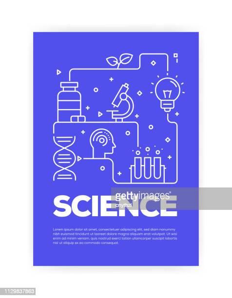 ilustrações de stock, clip art, desenhos animados e ícones de science concept line style cover design for annual report, flyer, brochure. - optical art