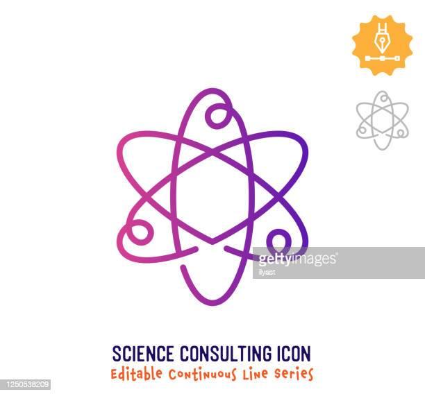 illustrazioni stock, clip art, cartoni animati e icone di tendenza di icona modificabile della linea continua di consulenza scientifica - atomo