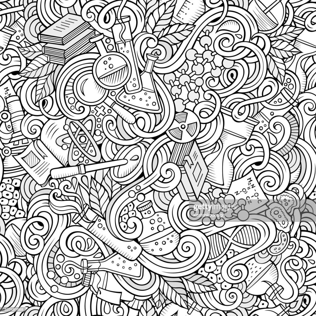 Science doodles seamless pattern