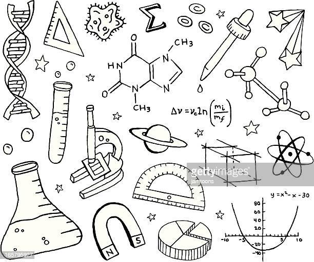 science doodles - physics stock illustrations