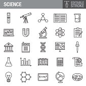 Science Editable Stroke Icon Set