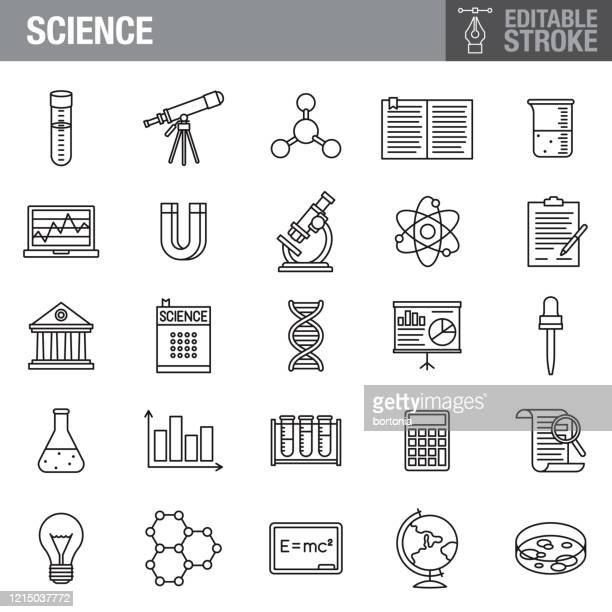 science editable stroke icon set - forschung stock-grafiken, -clipart, -cartoons und -symbole