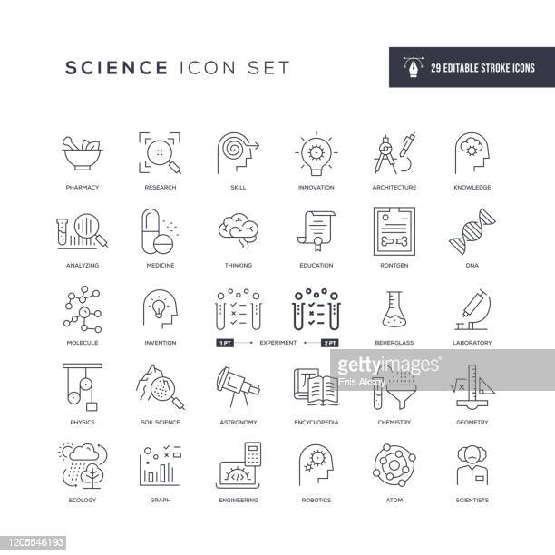 science editable stroke line icons - science stock illustrations