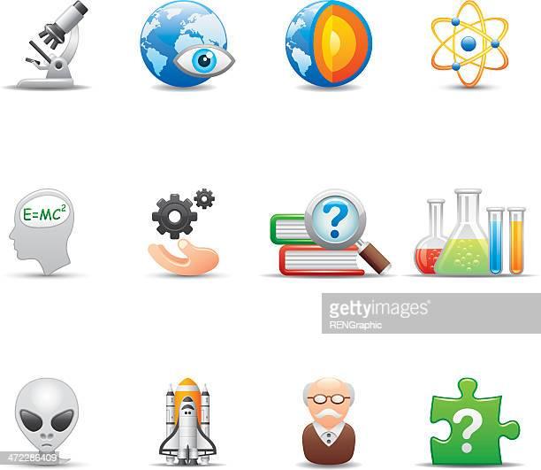 science educatio icon set | elegant series - geology stock illustrations, clip art, cartoons, & icons