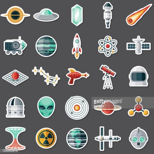 science-fiction-aufkleber-set - aufkleber stock-grafiken, -clipart, -cartoons und -symbole