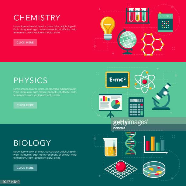 Science Flat Design Web Banners Set