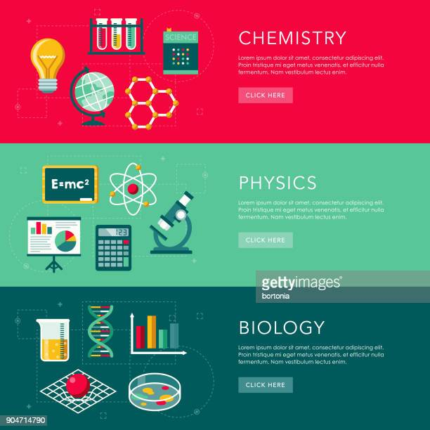 science flat design web banners set - physics stock illustrations
