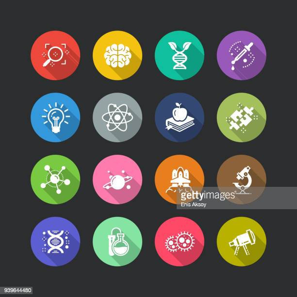 science flat icon set - microbiology stock illustrations