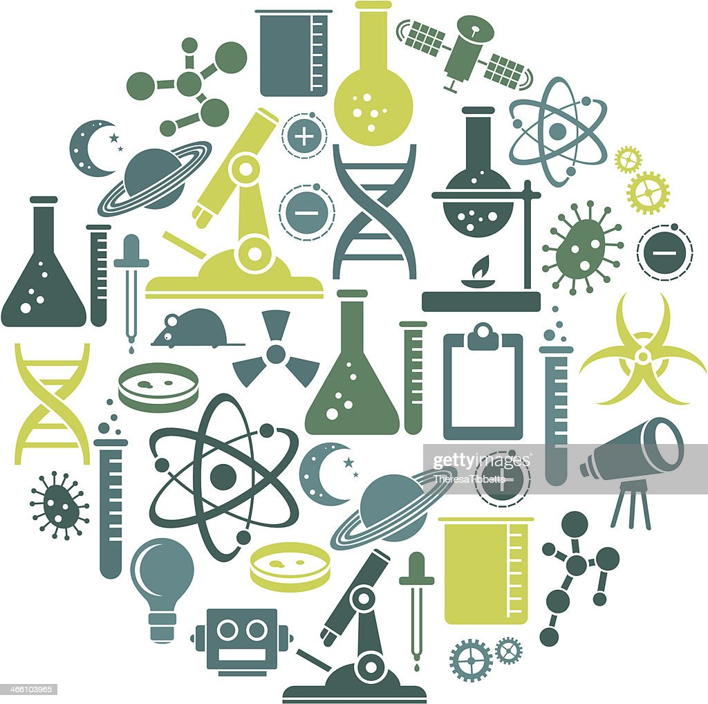 Science icon set contains variety of scientific tools