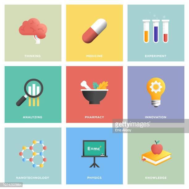 science icon set - nanotechnology stock illustrations