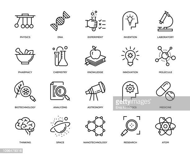 stockillustraties, clipart, cartoons en iconen met wetenschap icon set - idee