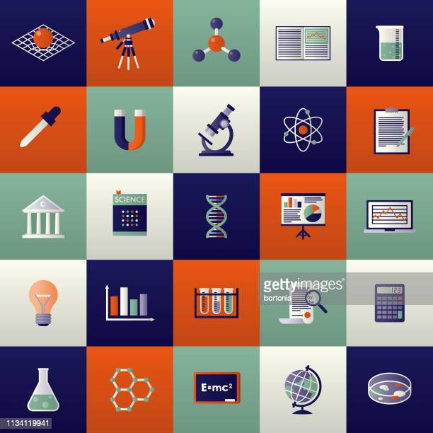 science icon set - scientist stock illustrations
