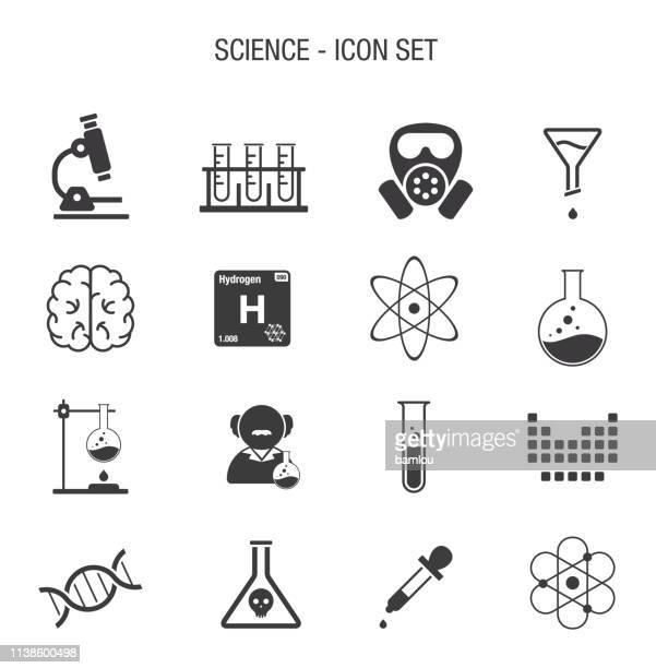 ilustraciones, imágenes clip art, dibujos animados e iconos de stock de science icon set - los cuatro elementos