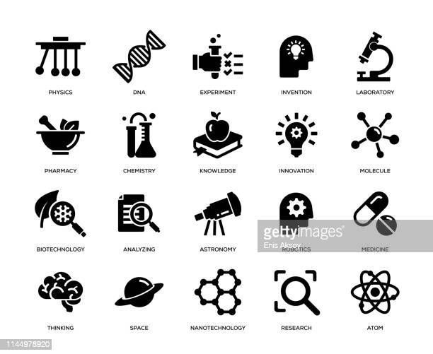 science icon set - nanotechnologie stock-grafiken, -clipart, -cartoons und -symbole