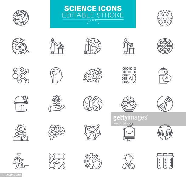 stockillustraties, clipart, cartoons en iconen met bewerkbare lijn voor wetenschappelijke pictogrammen - brainstormen