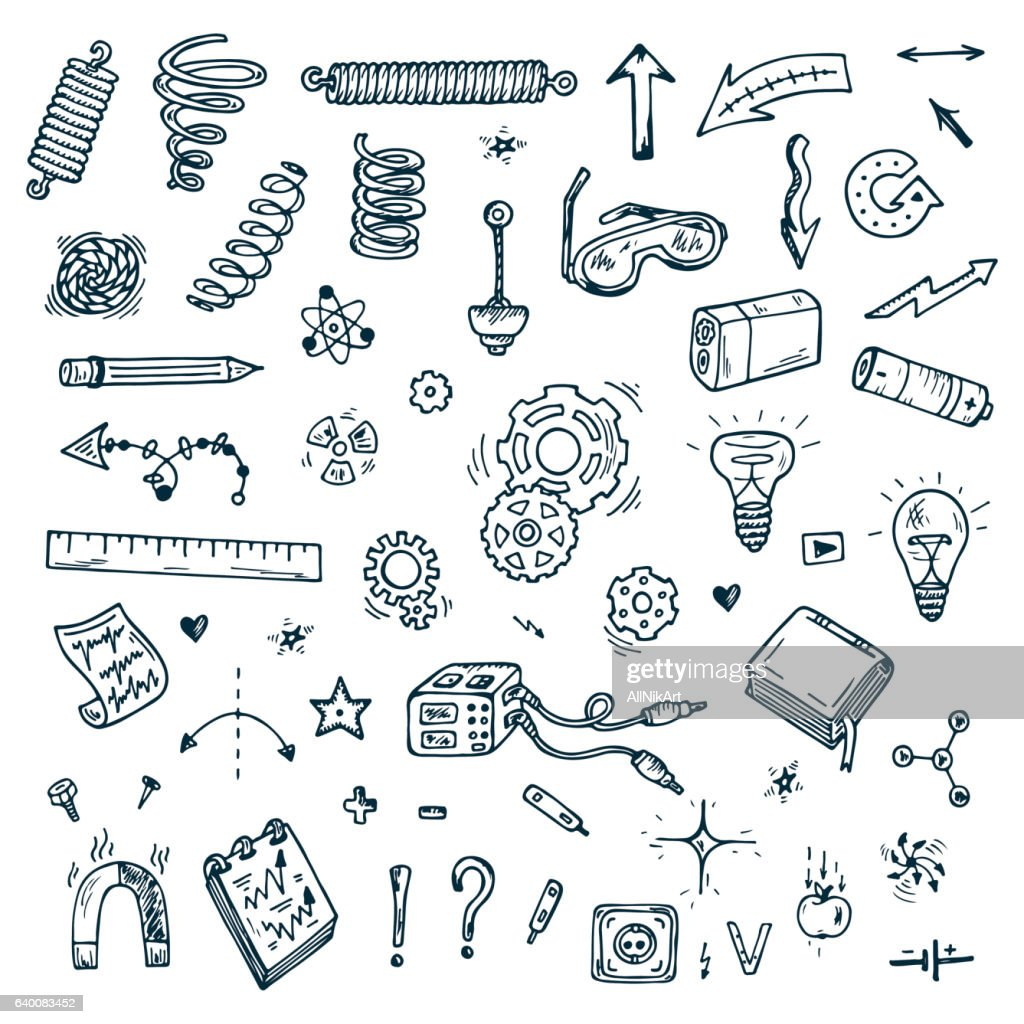 Science icons. Hand drawn doodles Physics Set