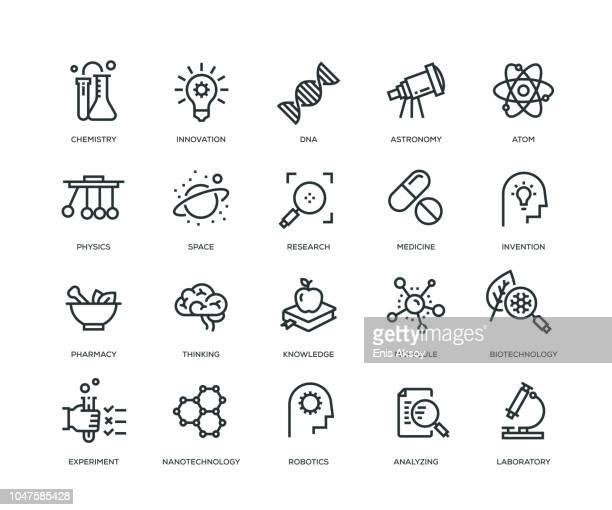 science icons - line series - reveal stock illustrations, clip art, cartoons, & icons