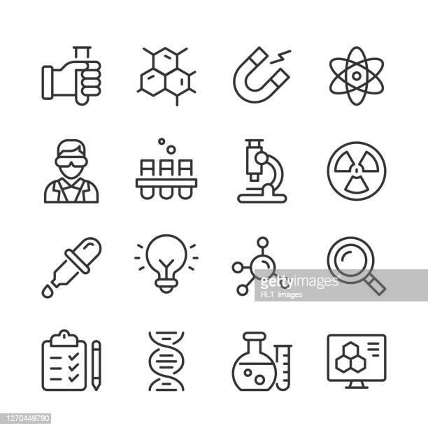 ilustraciones, imágenes clip art, dibujos animados e iconos de stock de iconos de la ciencia — serie monoline - ciencia
