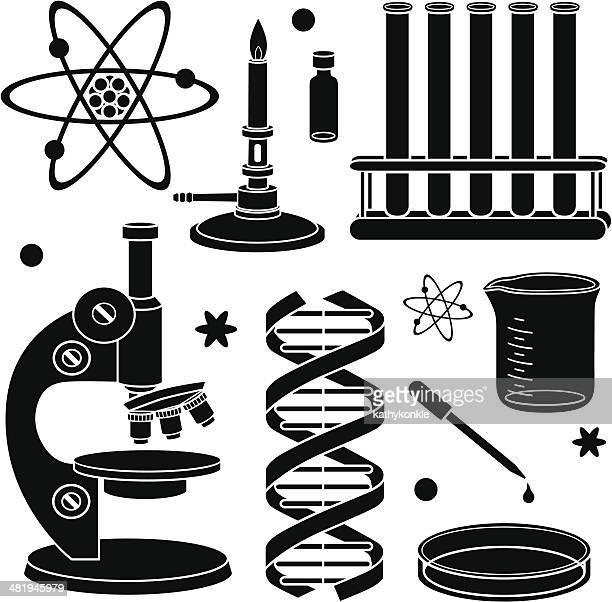 science icons - laboratory equipment stock illustrations