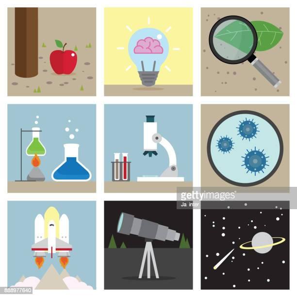 Science illustration icon set