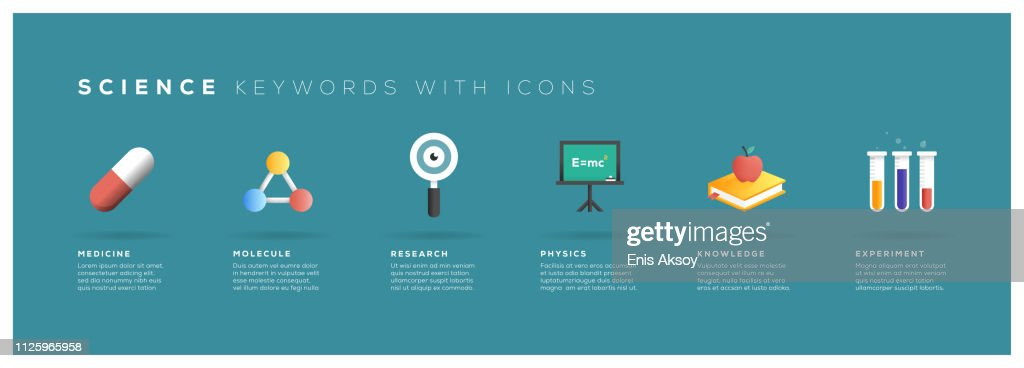 Science Keywords with Icons : stock illustration