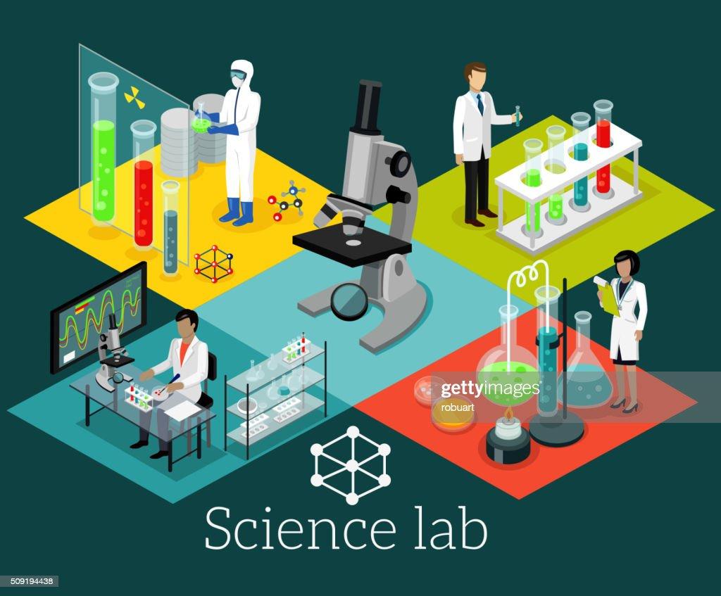 Science Lab Isomatric Design Flat