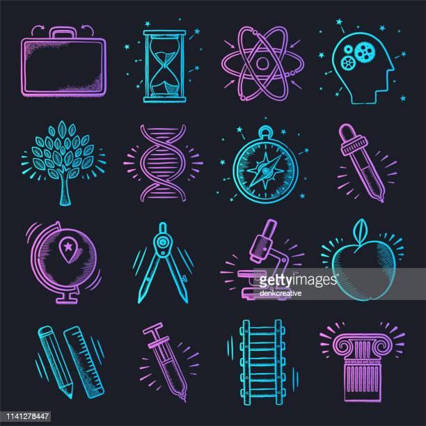 science laboratory learning neon doodle style vector icon set - schulische prüfung stock-grafiken, -clipart, -cartoons und -symbole
