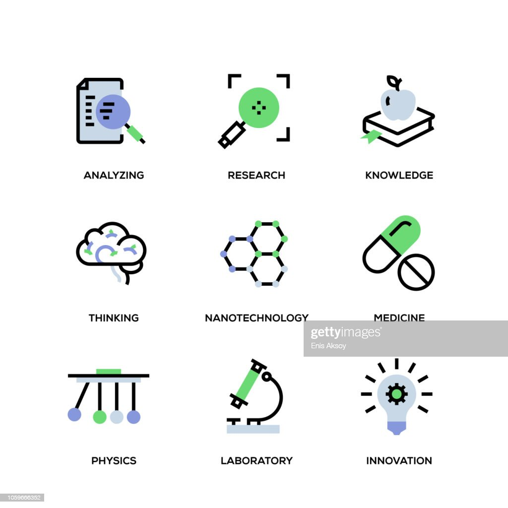 Science Line Icon Set : stock illustration